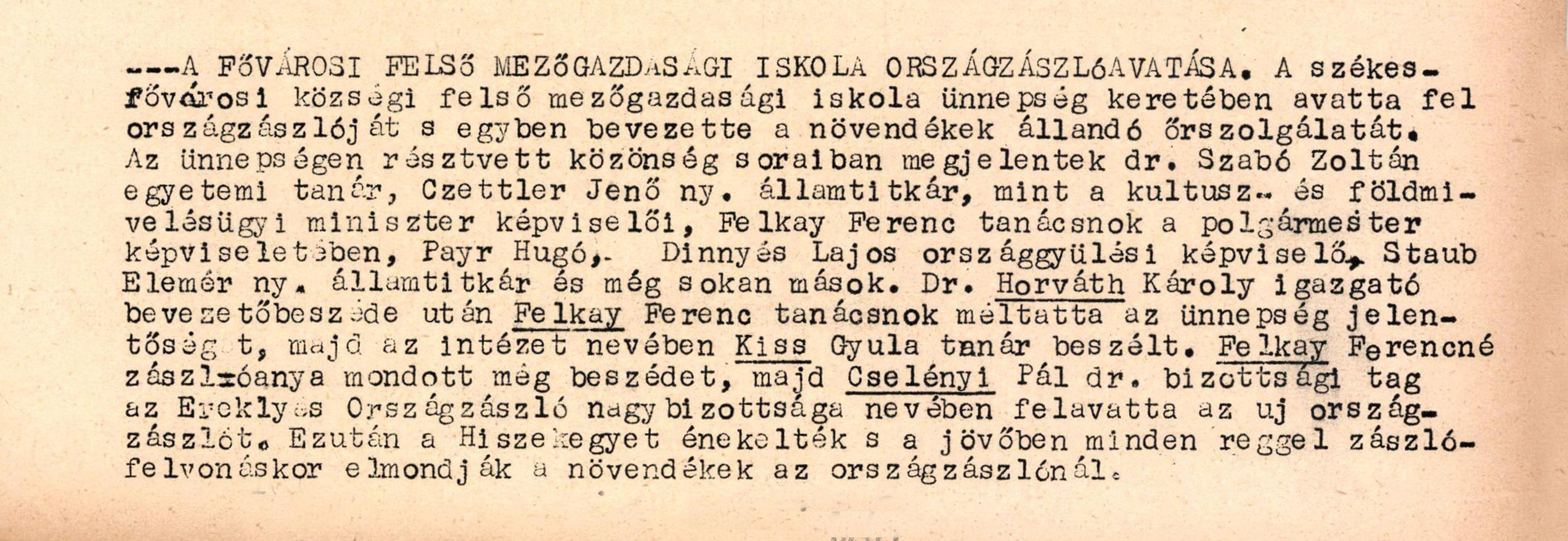 Bp-i Felsőmezőgazdasági Iskola oz.-jának felavatása 1937. október 04. 16.old